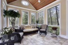 Sun room in luxury home with circular window